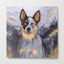 Blue Heeler in the Mountains Metal Print