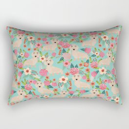 Doxie Florals - vintage doxie and florals gift gifts for dog lovers, dachshund decor, cream doxie Rectangular Pillow