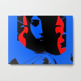 Blue Sky Red Hair Metal Print
