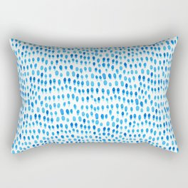 Ocean Rain Splatter Blue Rectangular Pillow