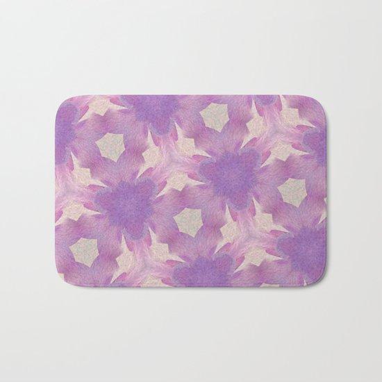 Geometric Floral Design - Purple Bath Mat