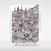 prague Shower Curtains featuring Prague by Justine Lecouffe