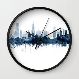 Chicago City Skyline Blue Watercolor by zouzounioart Wall Clock