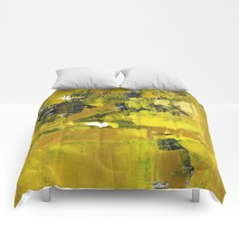 Waiter Yellow Abstract Modern Art Painting Comforters