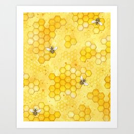 Two Bees And Honeycombs Art//Canvas Print Poster Home Decor Wall Art