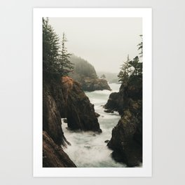 Fog Blankets the Oregon Coast at Natural Bridges Art Print