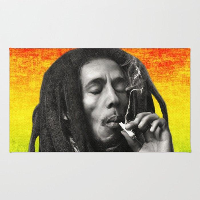 Marley Bob General Portrait Painting Up In Smoke Fan Art Rug
