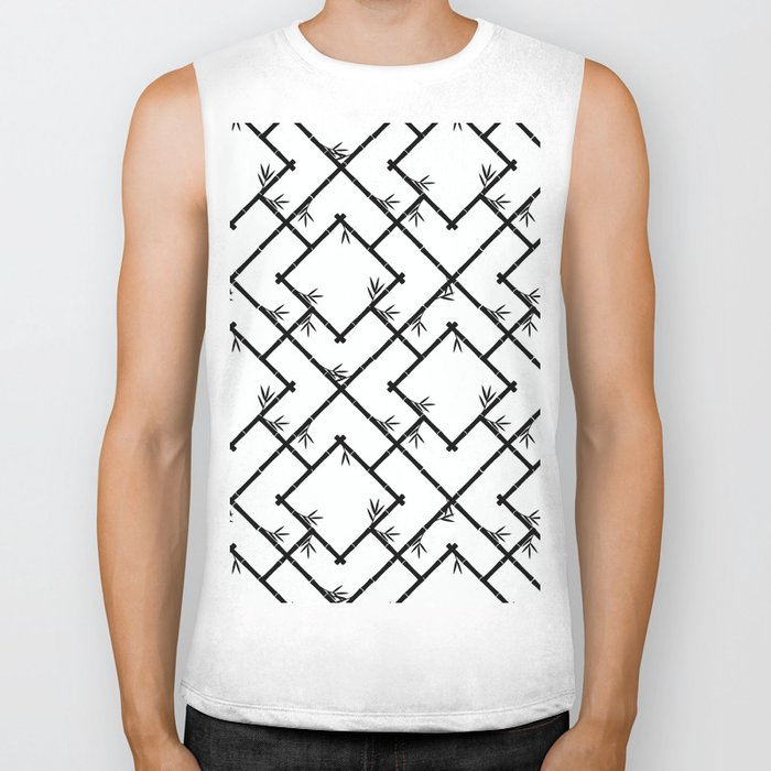 Bamboo Chinoiserie Lattice in White + Black Biker Tank