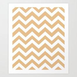 Pale gold - pink color -  Zigzag Chevron Pattern Art Print