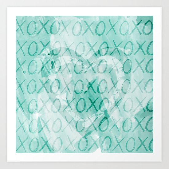 Mint XOXO Heart Art Print
