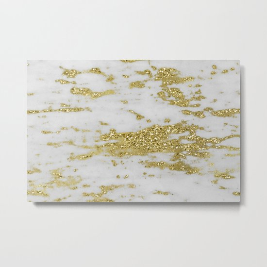 Marble - Glittery Gold Marble on White Design Metal Print