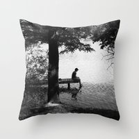 alone Throw Pillows featuring Alone by Kerri Swayze