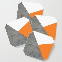 Concrete Tangerine White Coaster