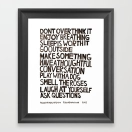Rules for Healthy Living Framed Art Print