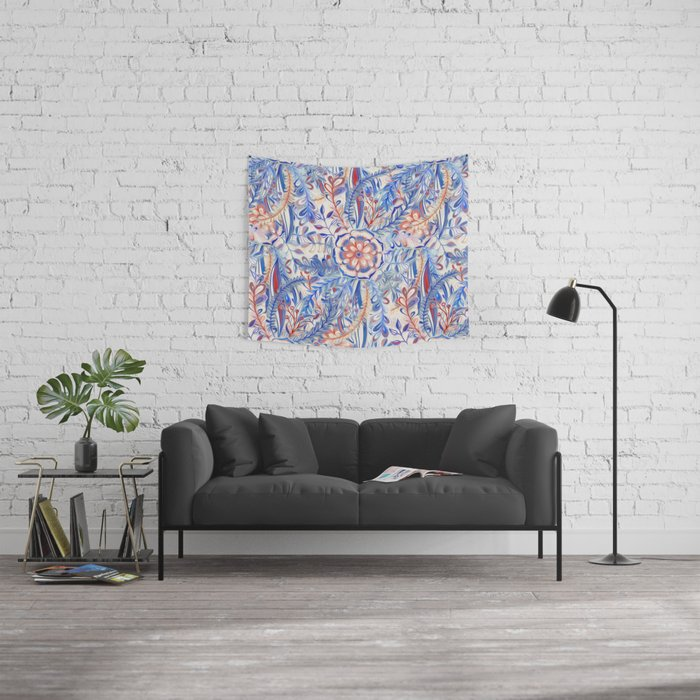 Boho Flower Burst in Red and Blue Wall Tapestry