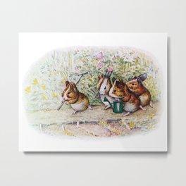 Little Hamster Garden Metal Print