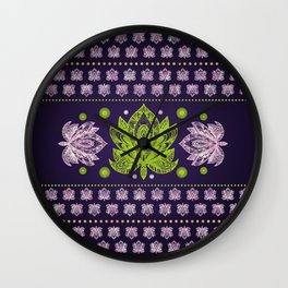 Lotus Flower in Bright green and Rose quartz Wall Clock