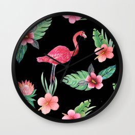 Pink flamingo on black with tropical flowers, hibiscus, protea and palm leaves Wall Clock