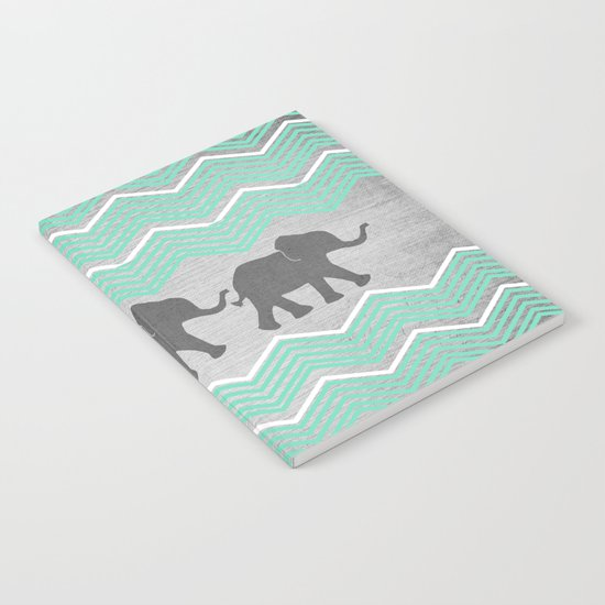 Three Elephants - Teal and White Chevron on Grey Notebook