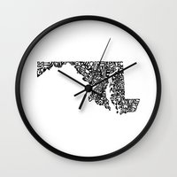 maryland Wall Clocks featuring Typographic Maryland by CAPow!