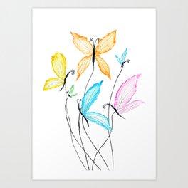 colorful flying butterflies Art Print