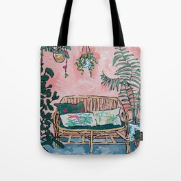 Rattan Bench in Painterly Pink Jungle Room Tote Bag