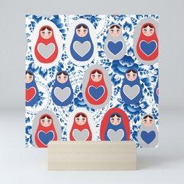 blue red gray Russian babushka dolls on a floral background Mini Art Print