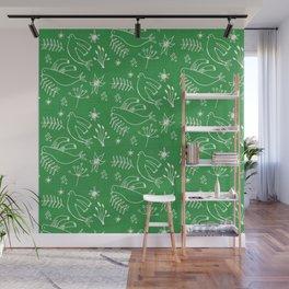 Christmas Dove Green Wall Mural