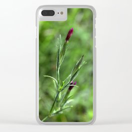 Pink Lipstick Flower Buds Clear iPhone Case