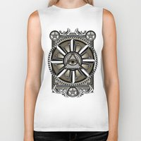 all seeing eye Biker Tanks featuring All Seeing Eye by Pancho the Macho