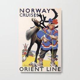 Norway Cruises Vintage Travel Poster Metal Print