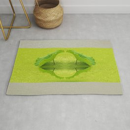 Leaves reflection throw Green Background Rug