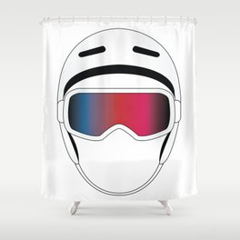 Snowboard Helmet and Goggles Shower Curtain