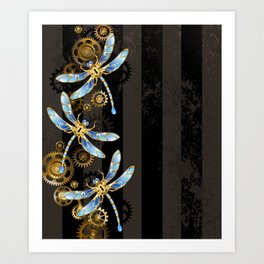 Steampunk Design with Mechanical Dragonflies Art Print