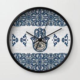 Hamsa Hand Hand of Fatima blue wood Wall Clock