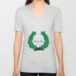 Rest In Peace Wreath and Ribbon Unisex V-Neck