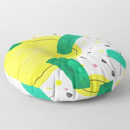 Abstract watercolor, shaped like a colorful virus Floor Pillow