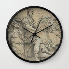 Vintage Marcus Aurelius on Horseback Illustration Wall Clock