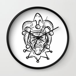 Harlequin Etching Black and White Wall Clock