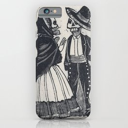 A male and female skeleton talking (vignette for the feast of the dead) iPhone Case