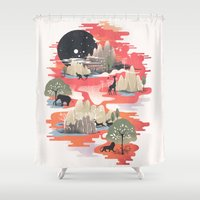 dreams Shower Curtains featuring Landscape of Dreams by dan elijah g. fajardo