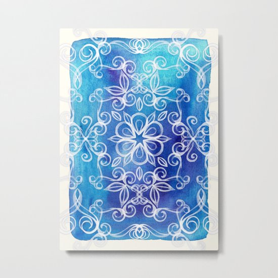 White Floral Painted Pattern on Blue Watercolor Metal Print