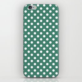 Viridian Green and White Polka Dot Pattern iPhone Skin
