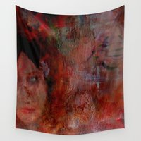 postcard Wall Tapestries featuring postcard reverie  by abstractgallery