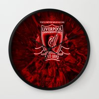 liverpool Wall Clocks featuring LIVERPOOL LOVER by Acus