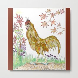 Rooster in Autumn Metal Print