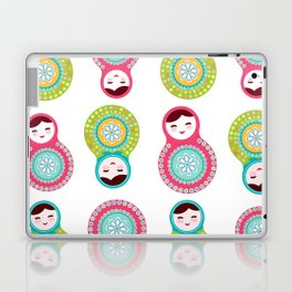 dolls matryoshka on white background, pink and blue colors Laptop & iPad Skin