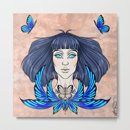 Morpho Blue Metal Print