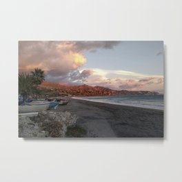 the evening sets in over Burriana Beach Nerja Spain Metal Print
