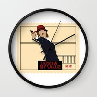 peggy carter Wall Clocks featuring Agent Carter  by amyskhaleesi
